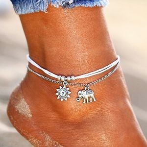 Other - Elephant & Sun Anklet White & Silver Double Strand